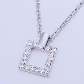 Open Square Pave Pendant Necklace