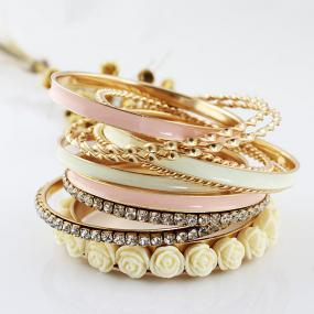 Georgous Pink and Gold Stacked Bangles