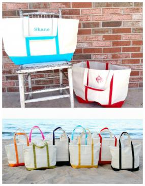 Extra Large PERSONALIZED Boat Tote with Top Zipper
