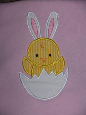 Easter Chick Bunny Embroidered Tee