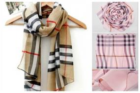 Classic Grid Pattern Chiffon Scarf in 2 Colors!