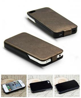 Leather Flip Top iPhone 4 and iPhone 5 Cases in Black and Brown