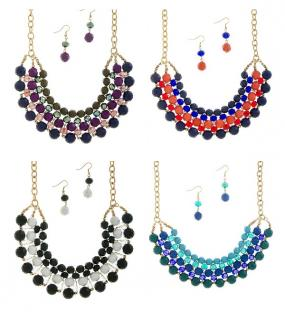 Colorful Bead Stacked Statement Necklace