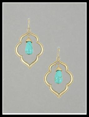 New World Stone Centered Drop Earrings