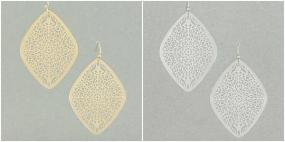 LIMITED STOCK!  Filigree Drop Earrings in Silver and Gold