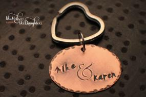 Personalized Hand Stamped Key Chain - Rustic Copper - Ampersand - And Sign