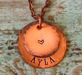Mom Grandma Heart Hand Stamped Necklace