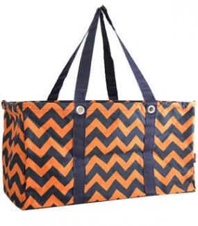 Navy and Orange Chevron Zig Zag Utility Tote