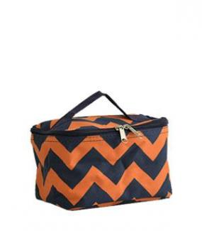 Navy and Orange Chevron Zig Zag Cosmetic Bag