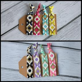 Aztec Design No-Crease Hair Ties