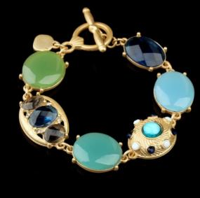 Blue and Green Gemstone Toggle Bracelet
