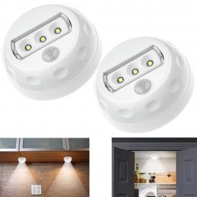 2 SETS of Cinch Power CP-01A MOTION SENSOR 3 LEDs 18lm LIGHT W/ 3pcs AAA batteries, off / auto / on.