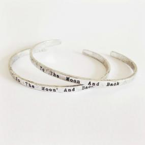 I Love You To The Moon And Back Silver Cuff Bracelet - Set of 2