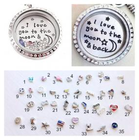 I Love You to the Moon and Back Floating Locket with 3 FREE Charms!