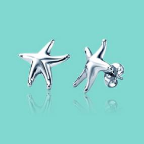 Silver Starfish Earrings...Free Shipping