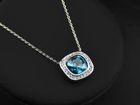 September Cushion-Cut Blue Sapphire Frame Pendant
