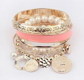 Blush & Pearls with Gold Stacked Coin Bangle Bracelet