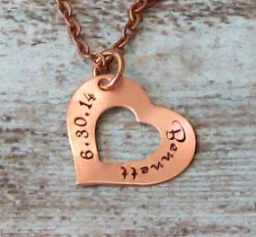 Hand Stamped Personalized Heart New Mom Necklace