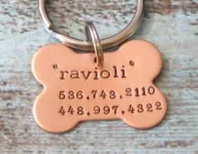 Hand Stamped Dog Bone ID Tag
