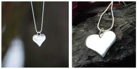 Silver Heart Necklace  FREE SHIPPING