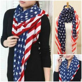 QUICK SHIP! Anthropologie Inspired Patriotic, Red, White and Blue Scarf