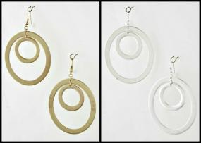 CLOSEOUT!! Classic Oval Hoop Earrings in Matte Silver or Gold