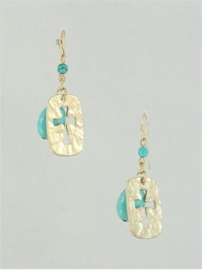 CLOSEOUT!! Turquoise and Gold Open Metal Cross Earring