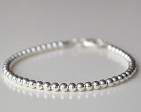 Tiffany Inspired 4mm Silver Bead Bracelet....FREE SHIP