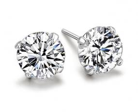Platinum Plated CZ Stud Earrings FREE SHIP