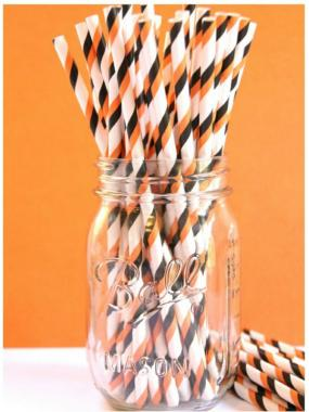 Quick Ship!~HALLLOWEEN Black/Orange/White Paper Straws
