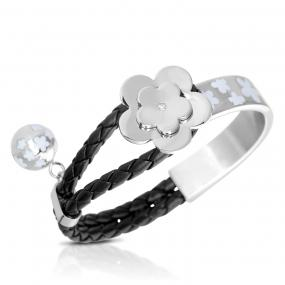 Silver Plated Black Leather Cubic Zirconia Flower Clover Bracelet Bangle