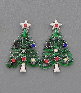 Decorative Christmas Tree Holiday Earrings