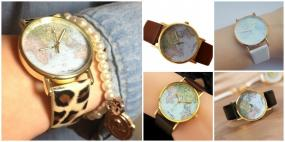 World Map Unisex Leather Wrist Watch