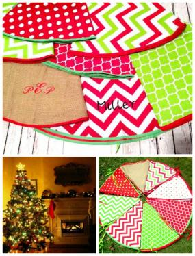 Monogrammed Festive Holiday Tree Skirt....Free Ship