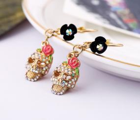 Pretty Rose Skull Earrings