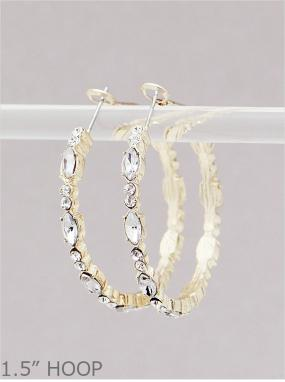 Gold Oval Mixed Stone Hoop Earrings