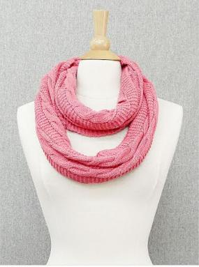 Pink Twisted Infinity Scarf