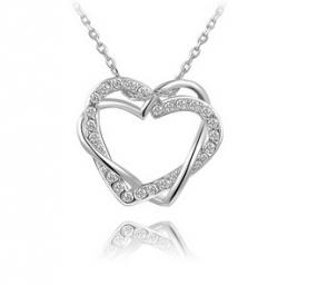 Swarovski Hearts Inter-Locked Necklace FREE SHIPPING