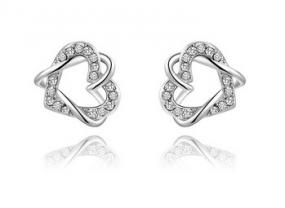 Swarovski Hearts Inter-Locked Earrings. FREE SHIPING