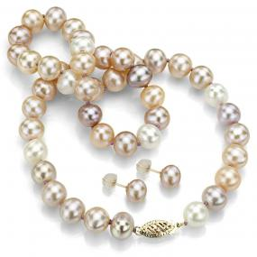 Glamorous Freshwater Multicolored Pearl Necklace and Earrings Set