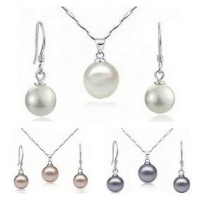 18K Gold Cultured Freshwater Pearl Necklace and Earring Set in 3 Colors.....FREE SHIPPING