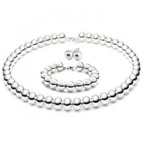 8mm Silver Bead NECKLACE and BRACELET Set...FREE SHIPPING!