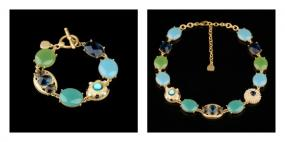 Blue and Green Gemstone Toggle Bracelet and Necklace Set....FREE SHIPPING