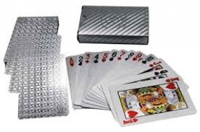 Deck of Poker Playing Cards in 999.9 Silver Foil Plating with Certificate and Mahogany Box