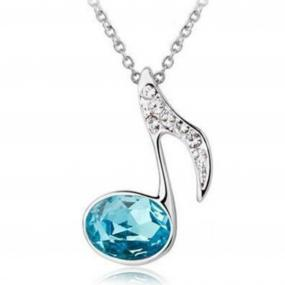 Stunning Sea Blue Crystal Musical Note Necklace