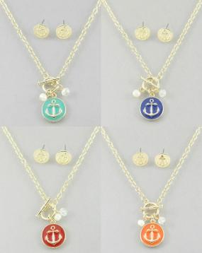 CLOSEOUT!!!   Anchor Necklace and Earrings Set in Fun Colors  FREE SHIPPING!!