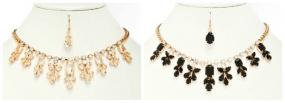 LIMITED STOCK.....Champagne or Black Color Jewel Crusted Statement Bib Necklace....FREE SHIPPING