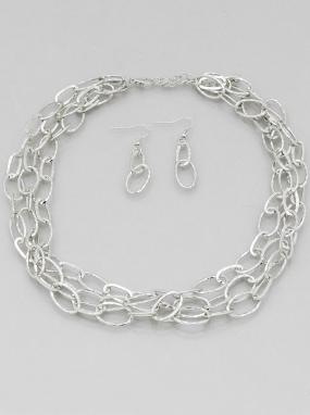 Hammered Chain Link Jewelry Set