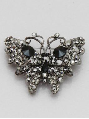 REDUCED......Onyx Rhinestone Butterfly Pin