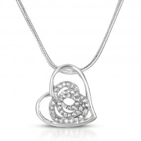 White Sapphire Rose & Silver Plated Heart Necklace - BOGO